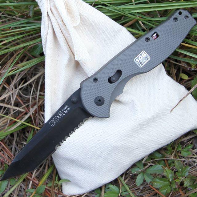 On sale now while supplies last! Our remaining supply of SOG Flash II STGFSAT-98 knives! We're also including a strong #10 Canvas knife back with every o rder of these. We make the knife bags at our warehouse in DeRidder, Louisiana! Get yours here:  Sog-Knives.net/KnifeBag  #SOGKnives #KnifeBag #STGFSAT-98