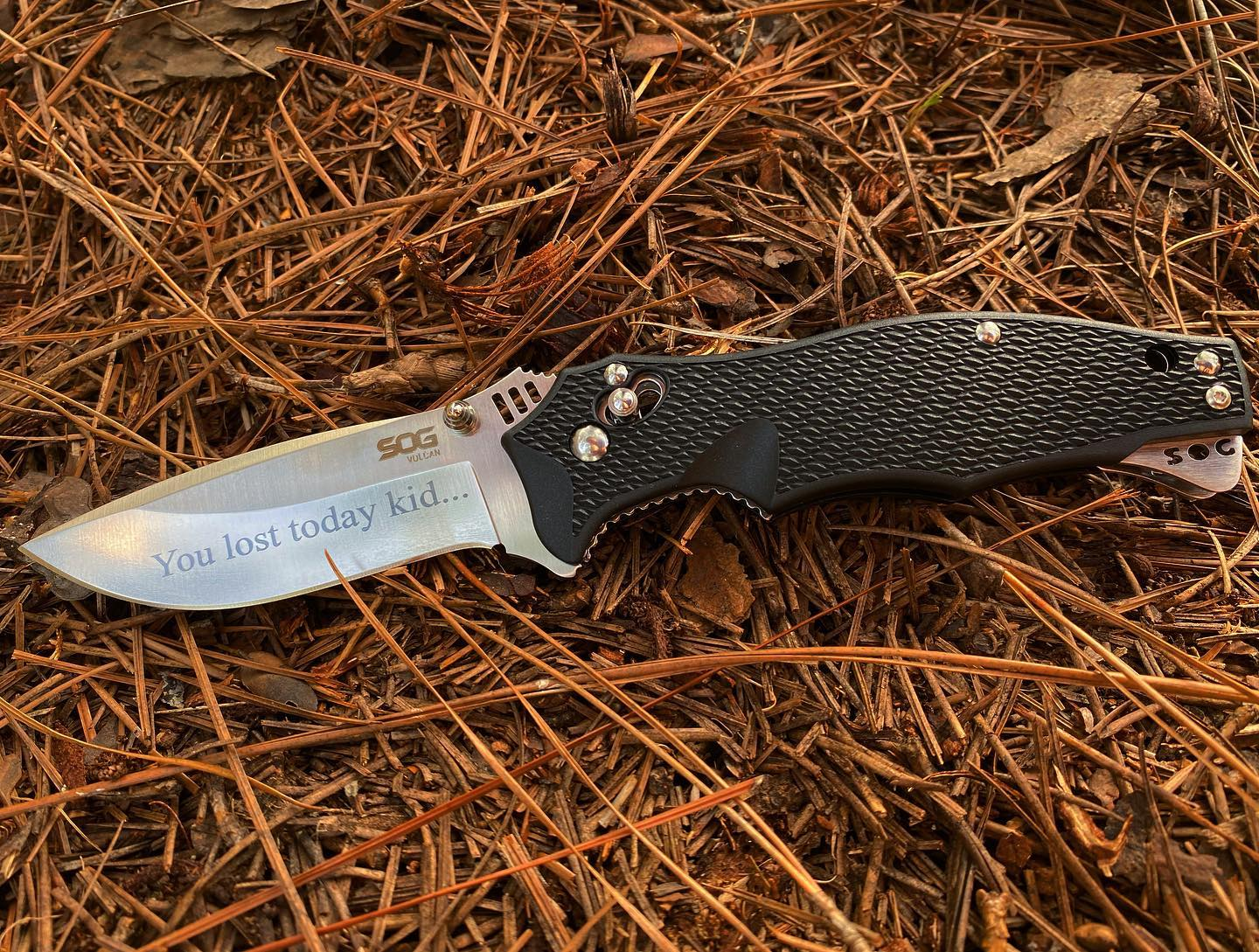 SOG Vulcan VL-01 knife was just engraved. You lost today... but quitters never win and winners never quit! Hang on to your dreams and make it happen.  #vulcan #VL-01 #beawinner #neverquit